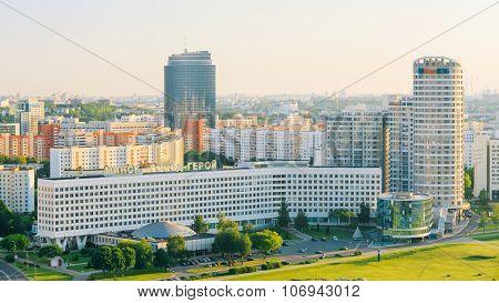 Aerial view, cityscape of Minsk, Belarus. Summer season, sunset