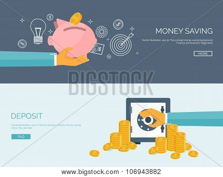 Flat vector illustration backgrounds set. Piggy bank and deposit. Money  saving and money making. We
