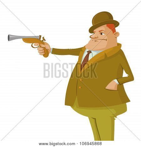 Man in top hat with dueling pistol poster