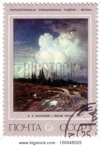 Ussr - Circa 1975: A Stamp Printed In Ussr Shows After The Storm (painting By F. Vasiliev Is In The