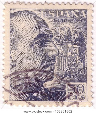 Spain - Circa 1939: A Stamp Printed In Spain Shows Portrait Of General Francisco Franco (1892-1975),