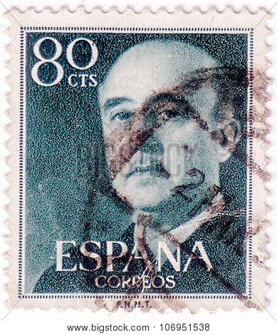 Spain - Circa 1954: A Stamp Printed In Spain Shows Francisco Franco, Circa 1954