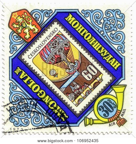 Mongolia - Circa 1973: A Stamp Printed In Mongolia Shows Czech Stamp With A Balloon, Circa 1973