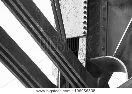 Close Up of Steel Bridge with Rivets