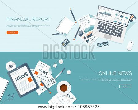 Vector illustration. Flat backgrounds set. Online news. Newsletter and information. Business and mar