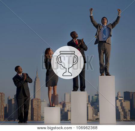 Trophy Reward Prize VIctory Success Achievement Concept poster