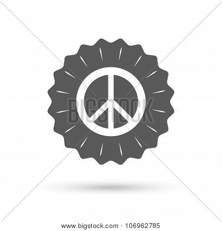 Vintage emblem medal. Peace sign icon. Hope symbol. Antiwar sign. Classic flat icon. Vector poster