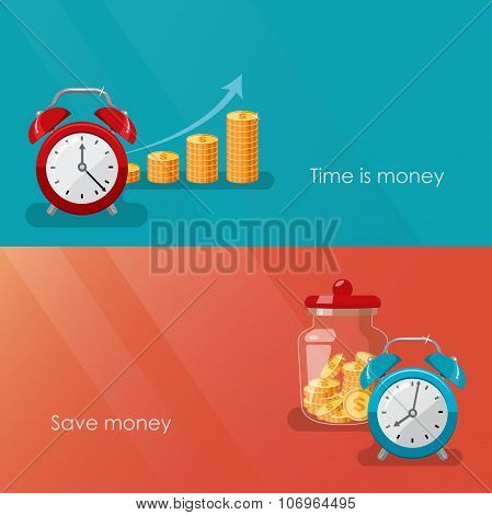Time is money and save money concept. Business and financial services. Vector flat Illustration.