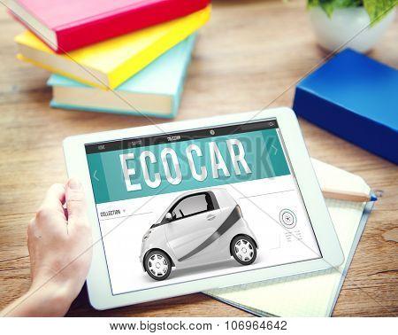 Eco Car Electrical Energy Fuel Hybrid Innovation Plug Concept poster