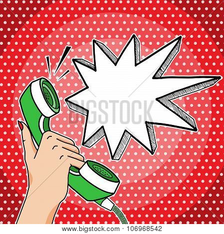 Vector Retro Pop Art Hand Holding Telephone With Empty Think Bubble For Your Text, Answering Phone