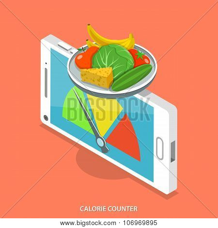 Calorie counter flat isometric vector concept.