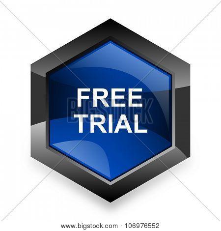 free trial blue hexagon 3d modern design icon on white background poster