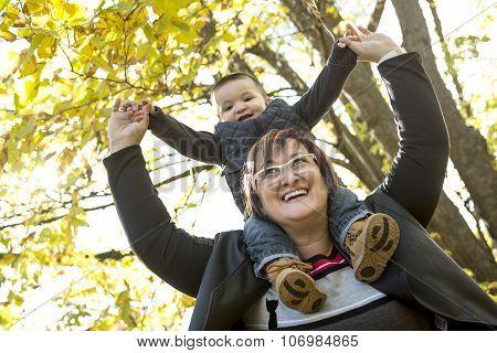 happy grandma with grandson outdoor
