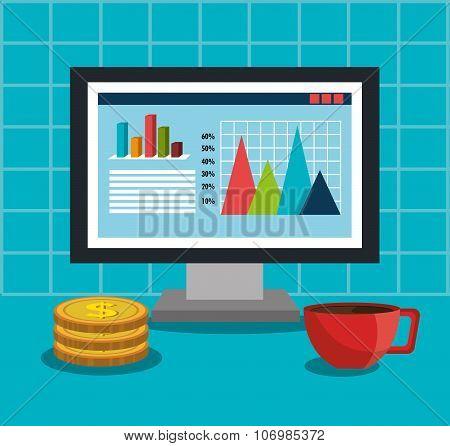 Financial market statistics on monitor