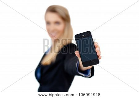 Business Woman Holding A Cell Phone