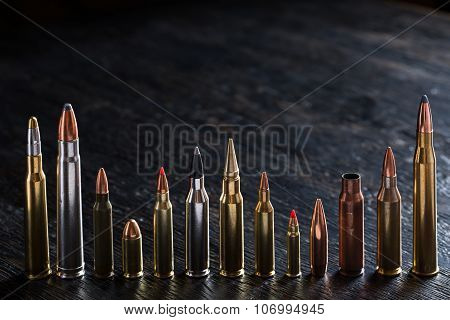 Number of large-caliber ammunition with different caliber
