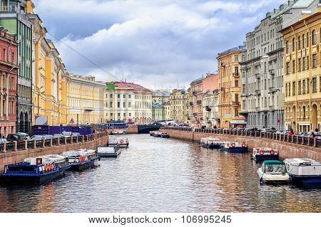 St Petersburg, View Over Moyka River From Nevsky Prospekt