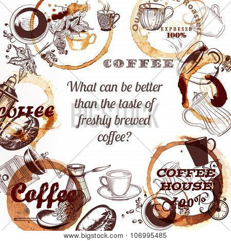Coffee Vector Poster With Hand Drawn Mugs Coffee Mills Spots And Roasted Grains