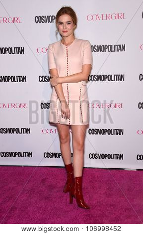 LOS ANGELES - OCT 13:  Zoey Deutch arrives to the Cosmopolitan's 50th Birthday Party on October 13, 2015 in Hollywood, CA.