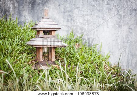 Wooden Lamp Decorated In Garden