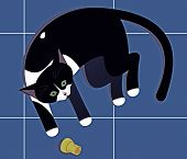 vector illustration of playful black cat laying on floor tiles poster