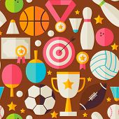 Sport Recreation Competition Brown Seamless Pattern. Sports and Activities Flat Design Vector Illustration. Background. Set of Team Games First place and Sport Items poster
