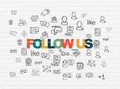 Social media concept: Painted multicolor text Follow us on White Brick wall background with  Hand Drawn Social Network Icons poster