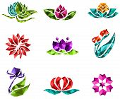 3D geometric polygon jewelry of creative crystal flower flora such as lotus daisy tulip rose sakura icon gem collection set design create by vector poster