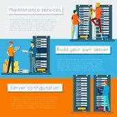 Data center and hosting vector banners set. Network internet database, configuration and maintenance, build server illustration poster