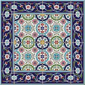 Gorgeous seamless  pattern from tiles and border. Moroccan, Portuguese, Turkish, Azulejo ornaments. Can be used for wallpaper, pattern fills, web page background, surface textures. poster