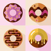 Vector flat style icons set of different types of donuts, top view. Sweet donuts with glaze and decorative sprinkles. Fast food. poster