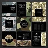 Set of brochure, poster templates in veterans day style. Beautiful design and layout poster