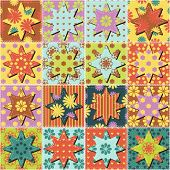 patchwork background with different patterns vector illustraton poster