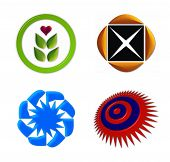 vector illustration of 4 symbols useful as logo design poster