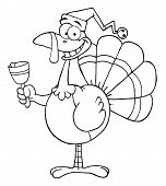 Outline Turkey Cartoon Character Ringing A Bell poster