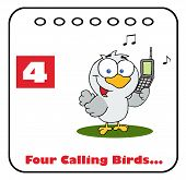 Bird Calling On A Christmas Calendar With Text And Number Four poster
