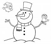 Outlined Friendly Snowman With A Cute Birds poster