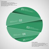 Circle illustration infographic template which is randomly divided to five green parts. Each part has space for own text according customer needs. Background is light. poster