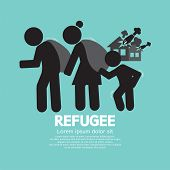 Refugees Evacuee Symbol Vector Illustration. EPS 10 poster