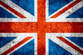 flag of United Kingdom or British banner on rough pattern metal background Great Britain poster