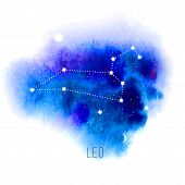 Astrology sign Leo on blue watercolor background. Zodiac constellation and part of zodiacal system and ancient calendar. Mystic symbol with stars, sun, moon and dots. Western horoscope illustration. poster