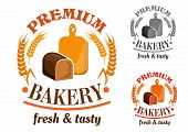 Bakery shop emblem or sign with rye bread loaf in front of wooden cutting board, framed by wheat and rye and headers Premium Bakery, Fresh and Tasty poster