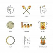 Professional sport line vector collection - rhythmic gymnastics equipment with names. Unique and modern set isolated on background. Summer sport collection.. poster