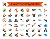 Aviation Disasters Vector Icon Collection. Here are airplane crashes, terrorist attacks, military drones, plane accidents. poster