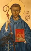 Saint Benedict of Nursia, patron saint of Europe and students. poster