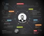 Vector original minimalist cv / resume template - creative version with colorful headings and icons, dark version poster