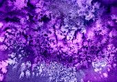 Abstract seamless watercolour aquarelle hand drawn wash drawing arty grunge creative blue violet splatters blots and blobs paper texture on multicolored background horizontal picture poster