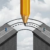 Bridging the gap business partnership concept as a giant pencil drawing a joining road to connect divided businessmen as a cooperation symbol of support and assistance to help in joining separate partners. poster