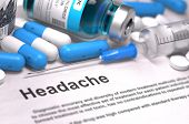 Headache. Medical Concept with Blue Pills, Injections and Syringe. Selective Focus. Blurred Background. poster