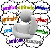 Positive attitude words in thought clouds around a thinker or thinking person including optimist, outlook, upbeat and mindset poster